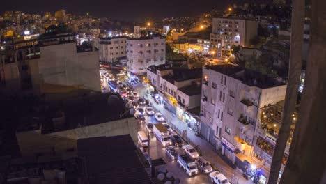 High-angle-night-time-lapse-of-downtown-Amman-Jordan