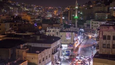 Lapso-De-Tiempo-De-Noche-De-ángulo-Alto-Del-Centro-De-Amman-Jordan-1