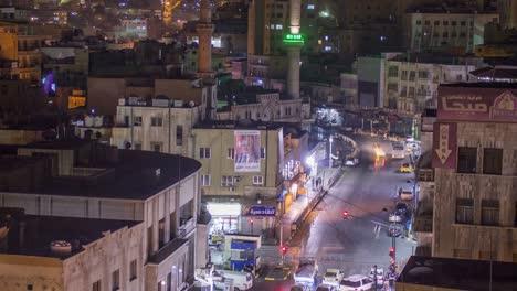 Slow-pull-back-of-timelapse-high-angle-of-Amman-Jordan