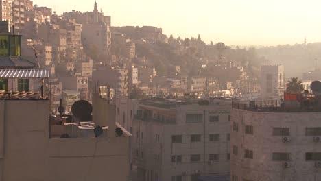High-angle-morning-skyline-view-of-Amman-Jordan