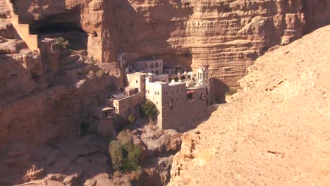 Close-up-of-the-beautiful-Christian-monastery-of-St-Georges-in-the-Judean-hills-near-the-Dead-Sea