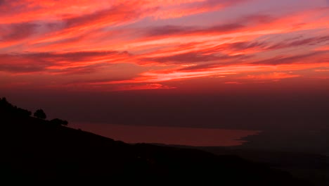 A-beautiful-time-lapse-sunset-behind-the-Dead-Sea-in-Jordan-suggests-the-Holy-land