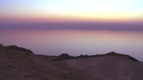 A-purple-golden-glow-after-sunset-behind-the-Dead-Sea-in-Jordan