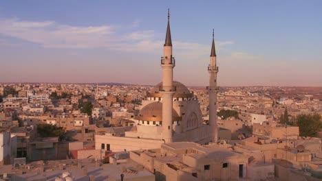 A-mosque-towers-above-the-Arab-city-of-Madaba-in-Jordan