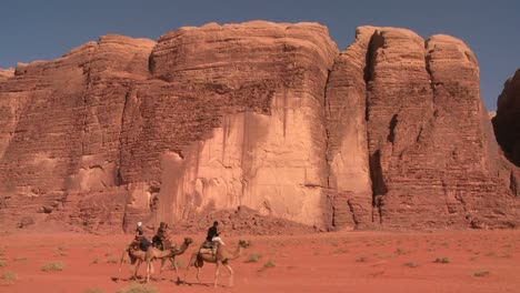 Camels-move-across-the-vast-desert-landscapes-of-Wadi-Rum-in-the-Saudi-deserts-of-Jordan-1