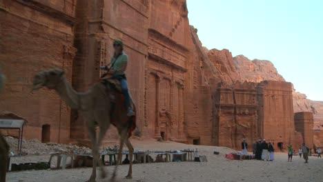 Un-Camello-Pasa-Por-Las-Ruinas-De-Petra-Jordan