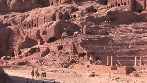 People-ride-donkeys-and-camels-near-the-ancient-amphitheater-in-the-ancient-Nabatean-ruins-of-Petra-Jordan-1