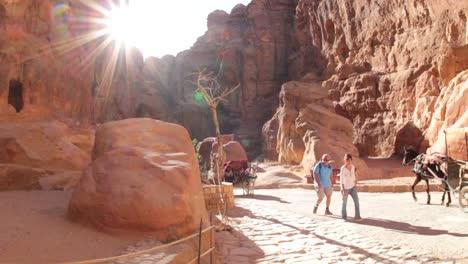 Horsecarts-pass-through-the-narrow-canyons-leading-up-to-Petra-in-Jordan