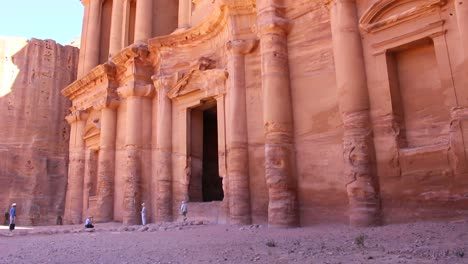 Tilt-up-to-the-Monastery-tomb-the-ancient-Nabatean-city-of-Petra-in-Jordan