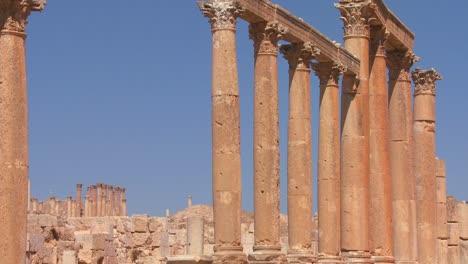 Roman-pillars-stand-against-the-sky-in-Jerash-Jordan