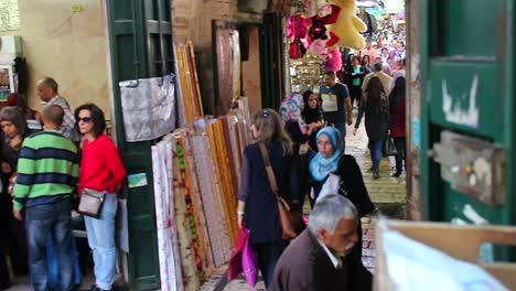 A-moving-shot-reveals-the-Arab-Quarter-of-the-old-city-of-Jerusalem