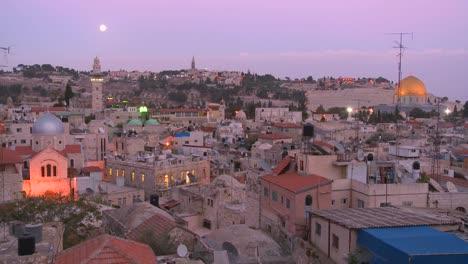 El-Día-Cambia-A-La-Noche-En-Este-Lapso-De-Tiempo-Sobre-La-Ciudad-Vieja-De-Jerusalén-