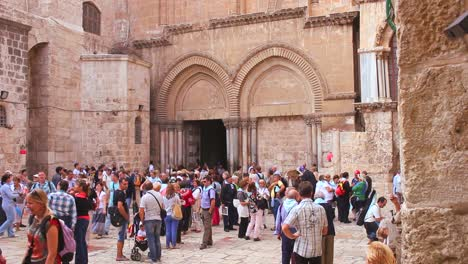 A-moving-shot-reveals-the-exterior-of-the-famed-Church-of-the-Holy-Sepulcher-in-Jerusalem-Israel