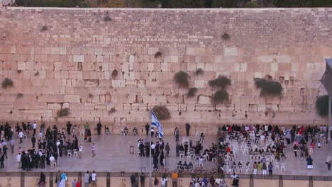 Tilt-down-to-Jewish-pilgrims-praying-at-the-Wailing-Wall-in-Jerusalem-Israel