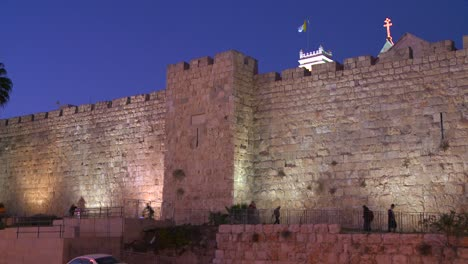 The-old-city-walls-of-Jerusalem-Israel-by-night