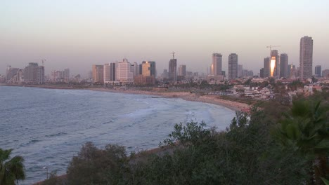 Modern-buildings-of-Tel-Aviv-Israel-with-beach-and-ocean-nearby