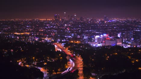 A-high-angle-view-over-Los-Angeles-from-the-Hollywood-Hills