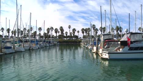 Wide-tracking-shot-of-boats-docked-in-Santa-Barbara-Harbor