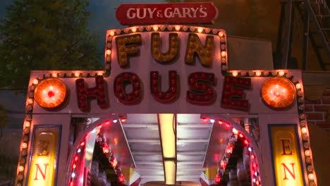 A-fun-house-at-a-carnival-at-night