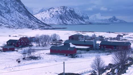 A-lonely-and-remote-village-in-the-Arctic-Lofoten-Islands-Norway