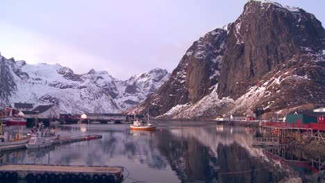 A-beautiful-view-of-a-harbor-in-a-village-in-the-Arctic-Lofoten-Islands-Norway
