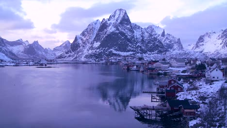 Time-lapse-of-a-spectacular-view-of-a-harbor-and-bay-in-a-village-in-the-Arctic-Lofoten-Islands-Norway