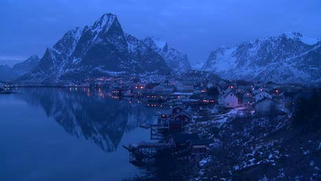 Evening-falls-on-a-beautiful-remote-village-in-the-Arctic-Lofoten-Islands-Norway-1
