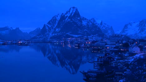 Evening-falls-on-a-beautiful-remote-village-in-the-Arctic-Lofoten-Islands-Norway-2