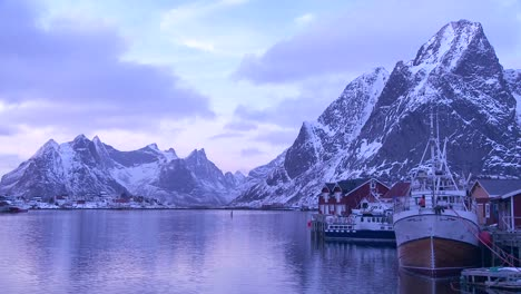 Snow-covered-peaks-and-lakes-decorate-a-remote-village-in-the-Arctic-Lofoten-Islands-Norway-2