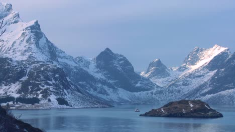 A-beautiful-winter-scene-in-north-of-the-Arctic-Circle-in-Lofoten-Islands-Norway