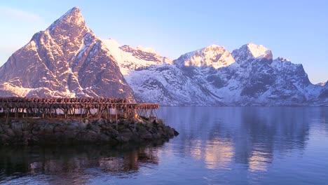 Los-Peces-Se-Cuelgan-Para-Secar-En-Rejillas-De-Madera-En-Las-Islas-Lofoten-Noruega-4