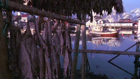 Los-Peces-Se-Cuelgan-Para-Secar-En-Bastidores-De-Madera-En-Las-Islas-Lofoten-Noruega-Con-Barcos-De-Pesca-En-El-Fondo-1