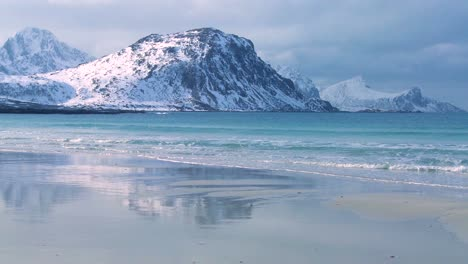 A-beautiful-beach-amidst-fjords-north-of-the-Arctic-Circle-in-Lofoten-Islands-Norway-1