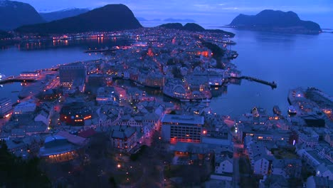 Establishing-shot-from-a-high-angle-view-at-dusk-over-town-of-Alesund-Norway