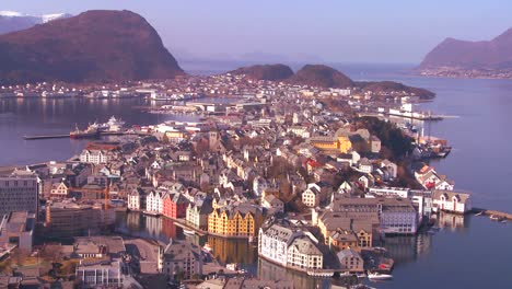Establishing-shot-from-a-high-angle-view-over-the-town-of-Alesund-Norway