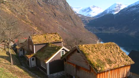 Thatch-roofed-traditional-houses-line-the-fjords-of-Norway