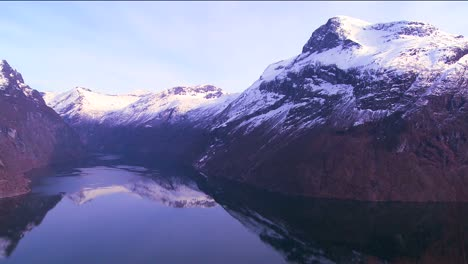 Tranquil-and-peaceful-high-panning-shot-of-the-fjords-of-Norway