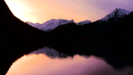 A-perfect-reflection-in-a-mountain-lake-at-sunset