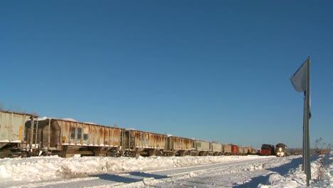 A-VIA-rail-Canada-passenger-train-passes-in-the-snow