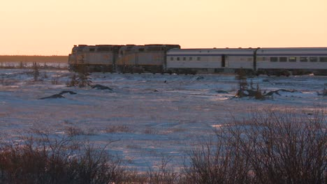 A-VIA-rail-Canada-passenger-train-passes-across-frozen-tundra-1