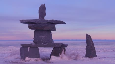 A-tradition-Inuit-stone-sculpture-at-Churchill-Manitoba-Canada-Hudson-Bay