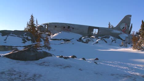 A-crashed-plane-sits-on-frozen-tundra-in-the-Arctic