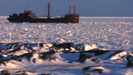 A-ship-sits-trapped-in-the-ice-of-frozen-Hudson-Bay-Churchill-Manitoba-Canada