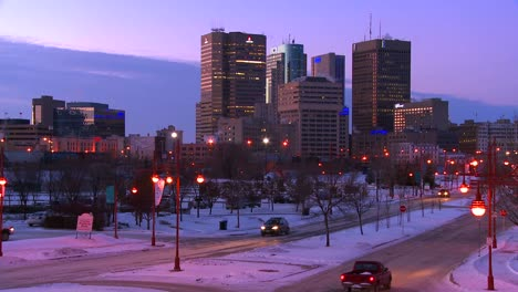 Downtown-Winnipeg-Manitoba-Canada-at-dusk