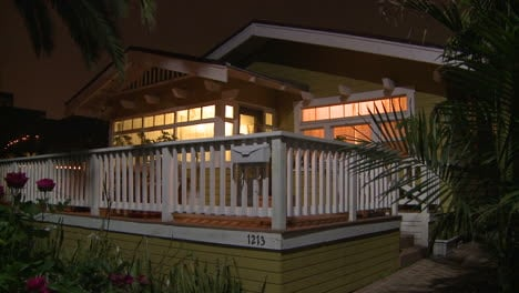 A-quaint-wooden-house-in-Florida-or-California-at-night