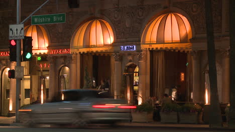 A-luxurious-restaurant-at-night-along-Wilshire-Blvd-in-Los-Angeles-at-night