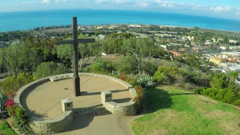 An-aerial-shot-over-a-California-christian-cross-over-the-city-of-Ventura