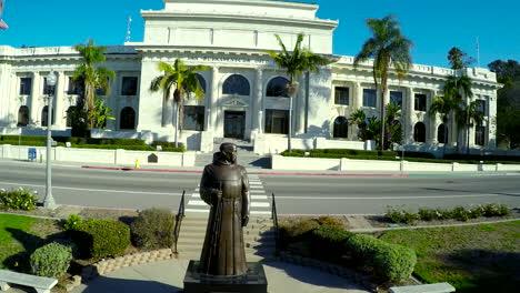An-aerial-shot-past-the-father-Junipero-Serra-reveals-Ventura-City-Hall-government-building