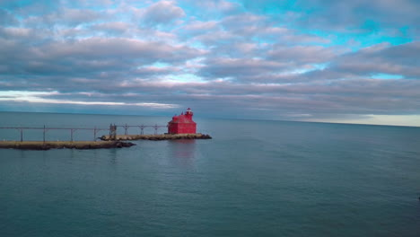 Beautiful-aerial-over-the-Sturgeon-Bay-lighthouse-in-Door-County-Wisconsin