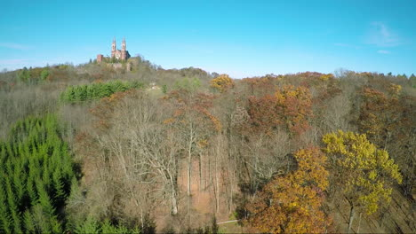 A-nice-aerial-above-the-treetops-reveals-the-Holy-Hill-Christian-monastery-in-rural-Wisconsin